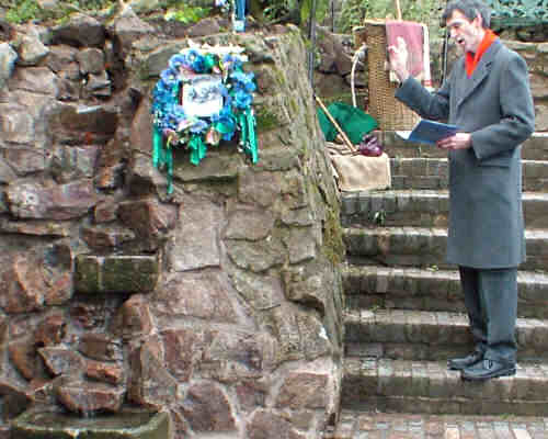 Rev. John Barr blessing the waters at St Ann's Well
