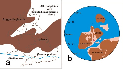 Figure Eleven a. Environmental Conditions during the mid-Devonian b. Position of the continents during the mid-Devonian (375 million years ago)