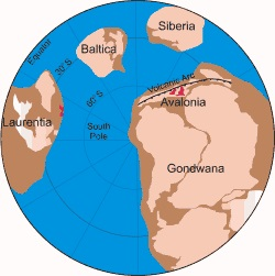 Map showing continents in Precambrian age - Malvern Spa Association
