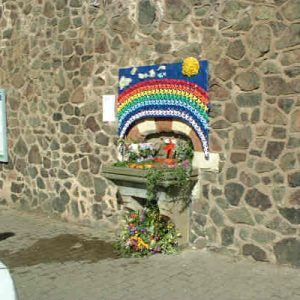 Fountain at Great Malvern Railway Station decorated for the annual well-dressing