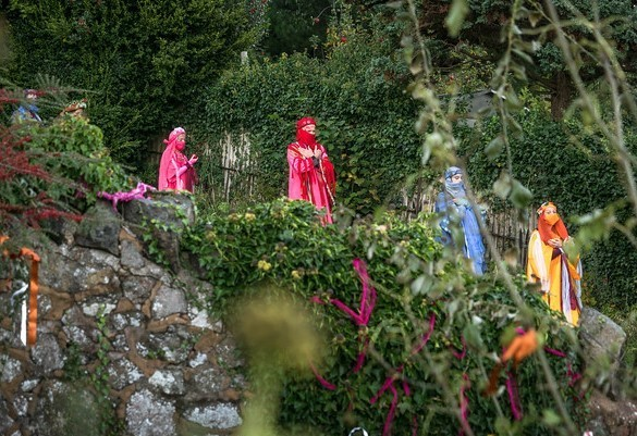 The Rainbow Guardians of Earth performing at the well head - All Souls Celebration Malvern Spa Association 2020