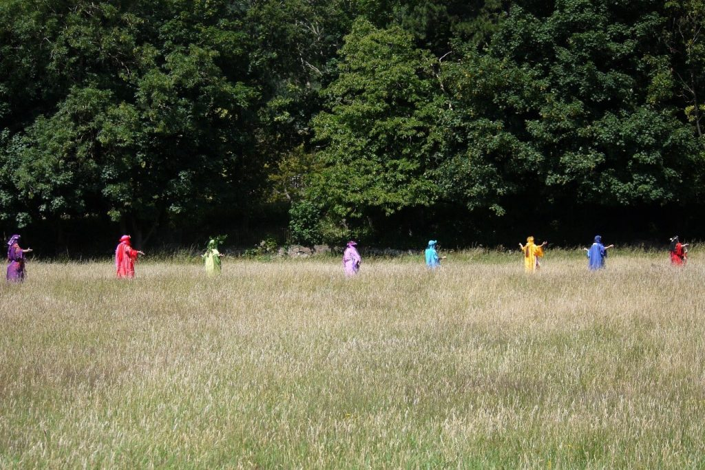 Rainbow guardians of the earth processing through a field - Malvern Spa Association 2020